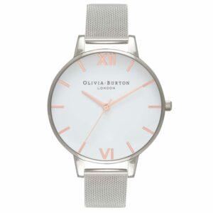 Olivia Burton White Dial Rose Gold & Silver Mesh