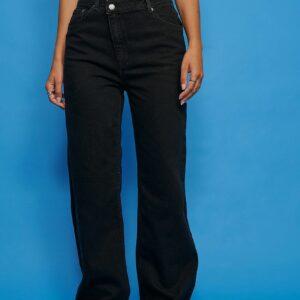 Økologiske højtaljede jeans med vidde og asymmetrisk lukning