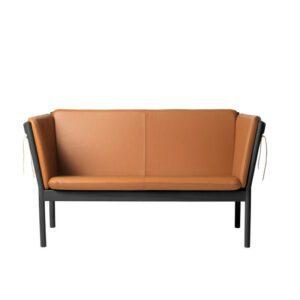 FDB Møbler J148 2 pers. sofa, Sort Malet Semianilin, cognac læder