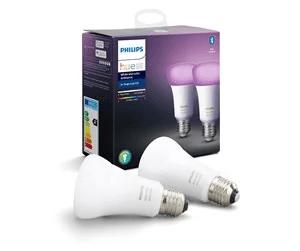 Philips Hue Color E27 Pære – Richer Colors – BT – 2-pak