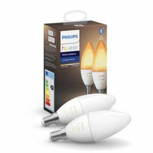 Philips Hue – E14 2-Pack Bulb – White Ambience – Bluetooth