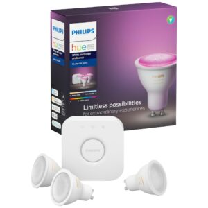 Philips Hue White and Colour Ambiance sæt (3 elpærer + Hue bro)